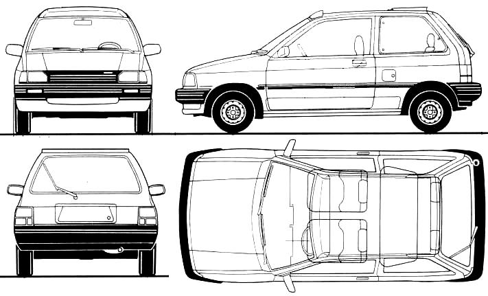 Mazda 121 3-door blueprints