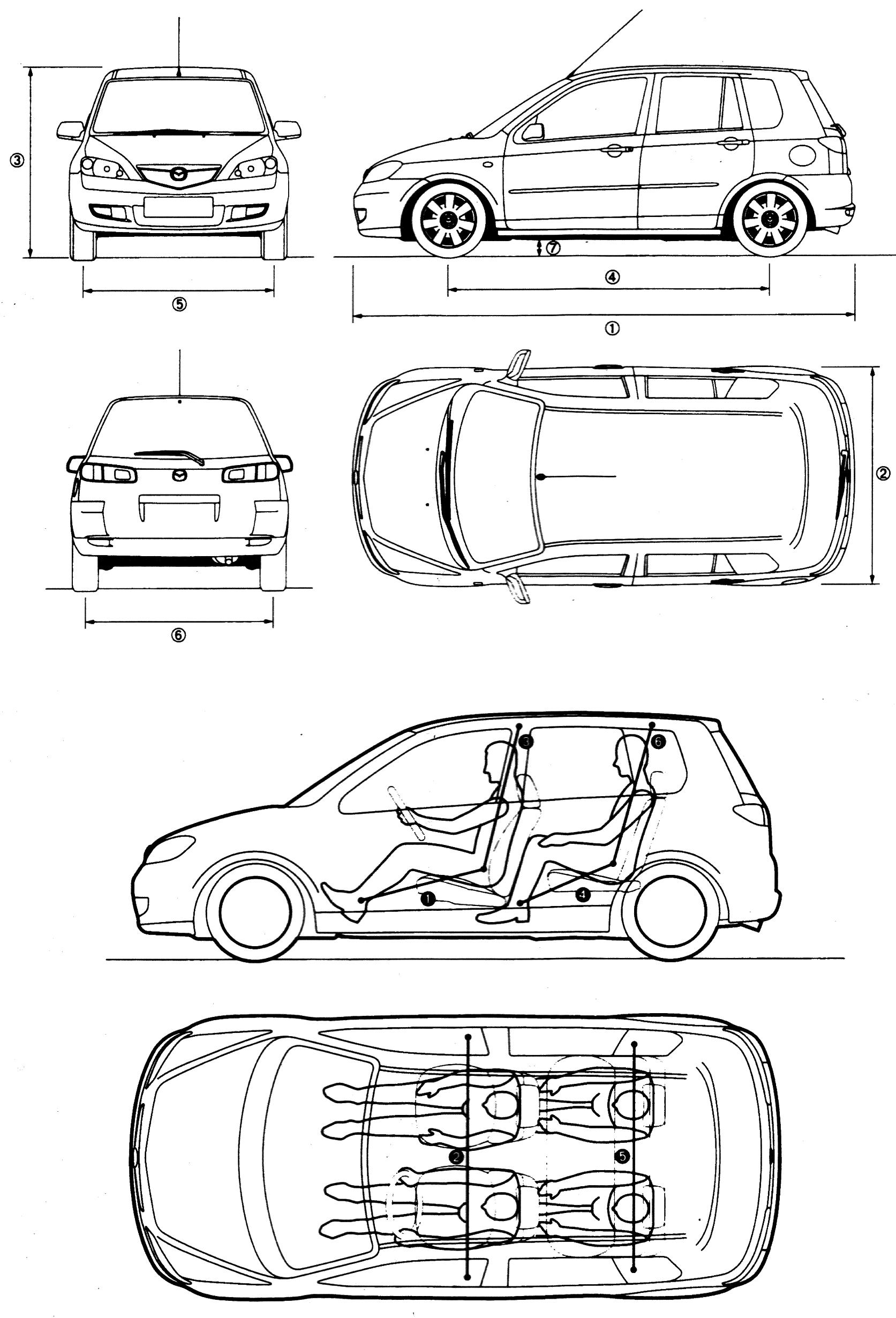 Mazda 2 5-door blueprints