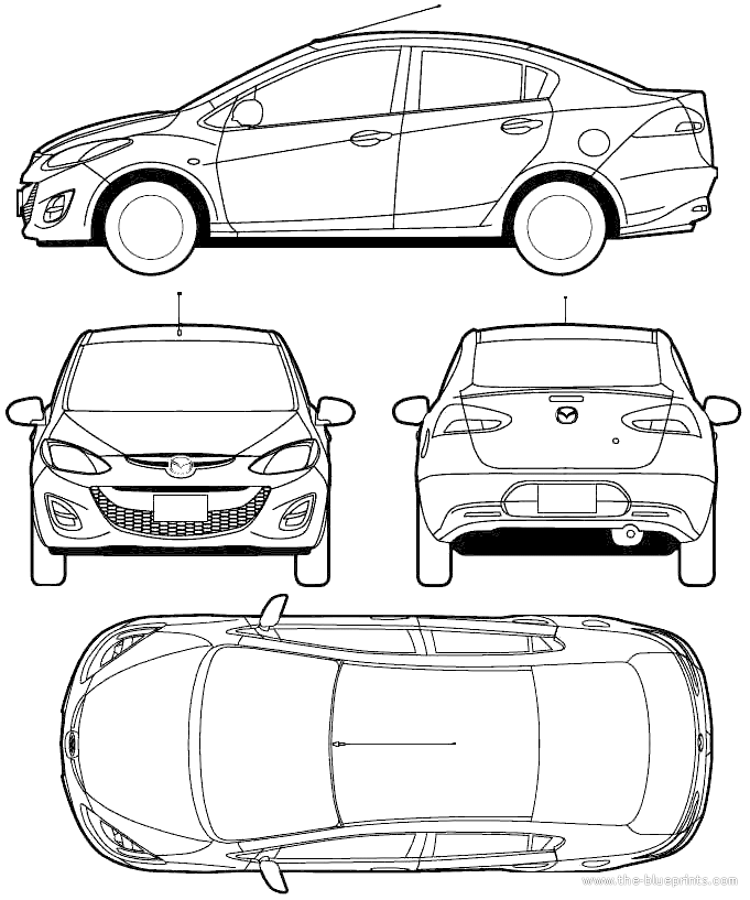 2010 mazda 2 sedan blueprints free outlines