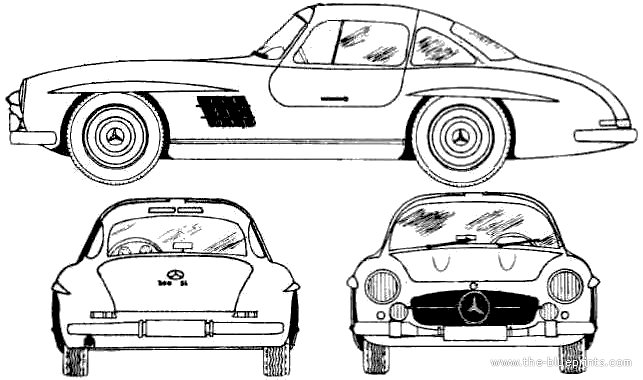 1955 mercedes-benz 300sl coupe blueprints free