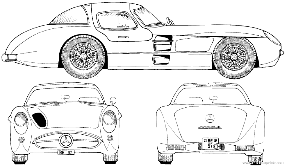 1955 mercedes-benz 300slr coupe blueprints free