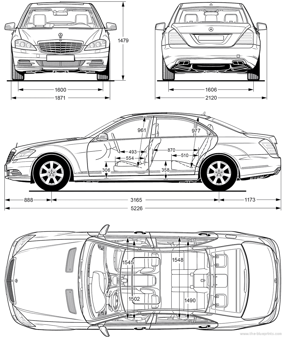 2010 mercedes benz s class w221 sedan blueprints free for Where to get blueprints printed