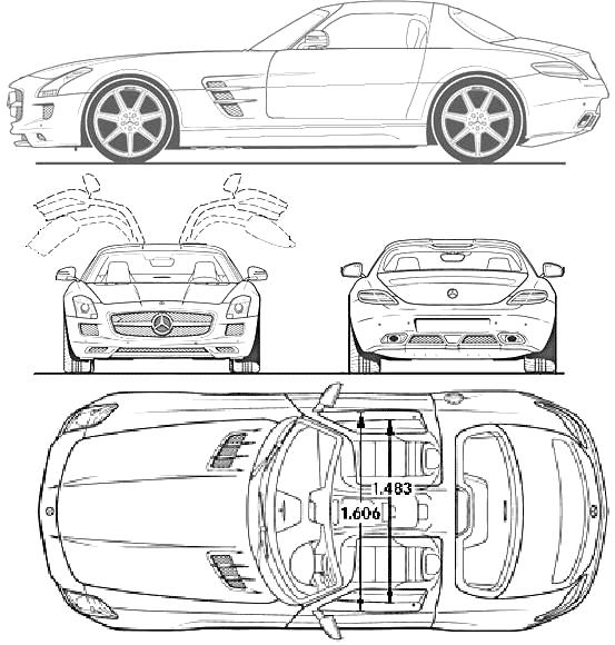 2010 mercedes-benz sls amg coupe blueprints free