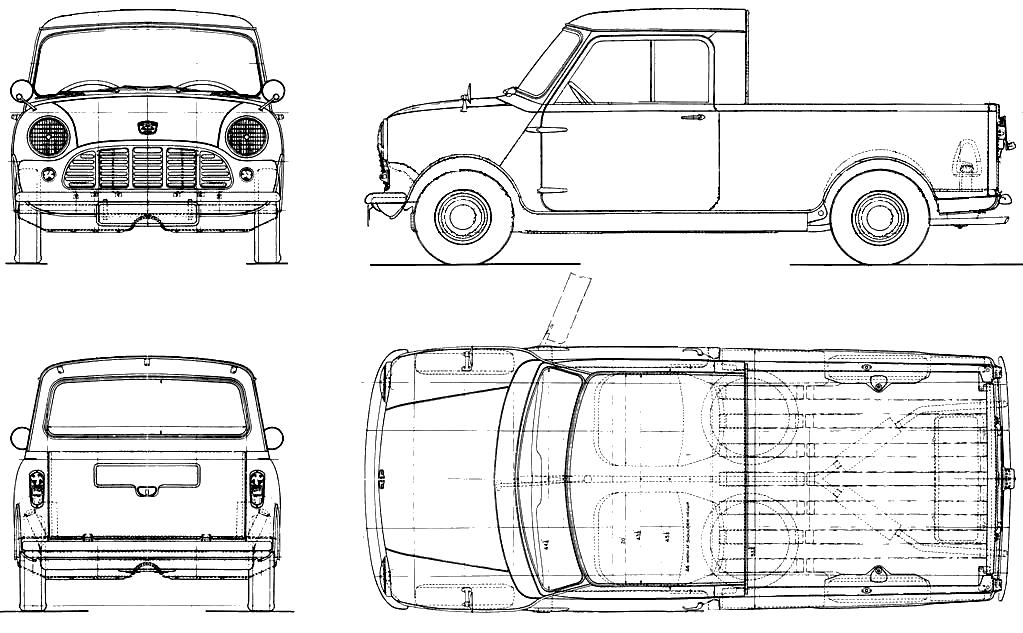 1979 mini pickup truck blueprints free outlines for Blueprint size prints