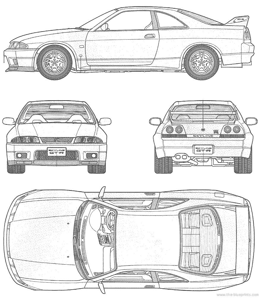 1995 nissan skyline gt-r r33 coupe blueprints free