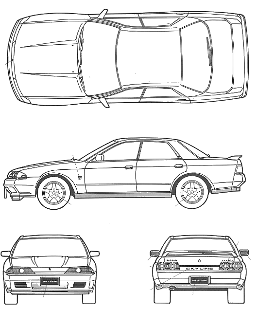 1989 Nissan Skyline R32 Sedan Blueprints Free