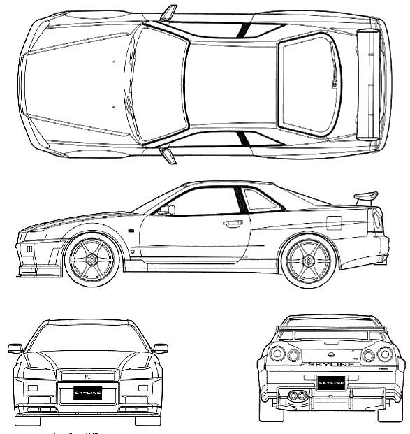 1999 nissan skyline r34 gt-r v-spec coupe blueprints free