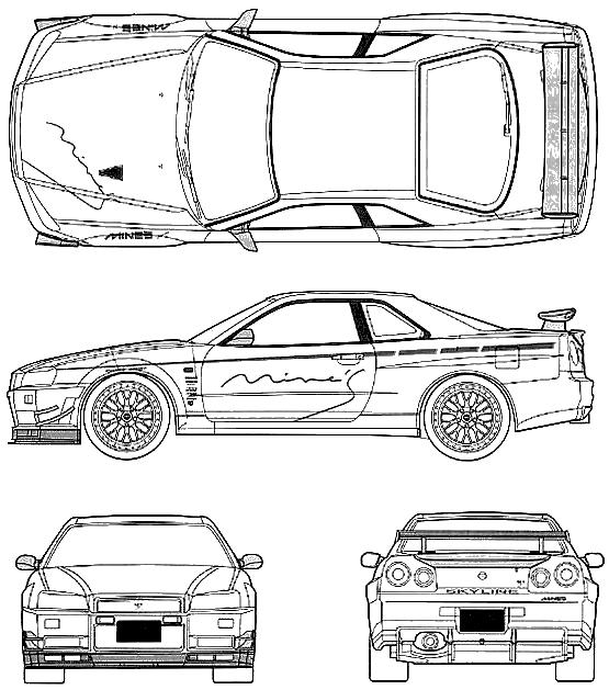1999 nissan skyline r34 gt-r coupe blueprints free