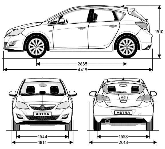 Opel Astra blueprints