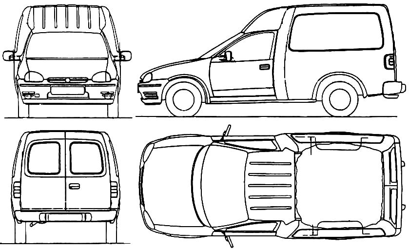 1999 opel combo van blueprints free