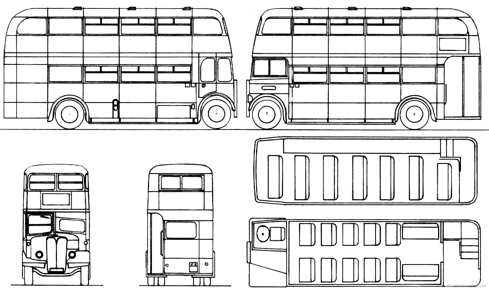 Other AEC Regal-III Red Double Decker Bus blueprints free ...