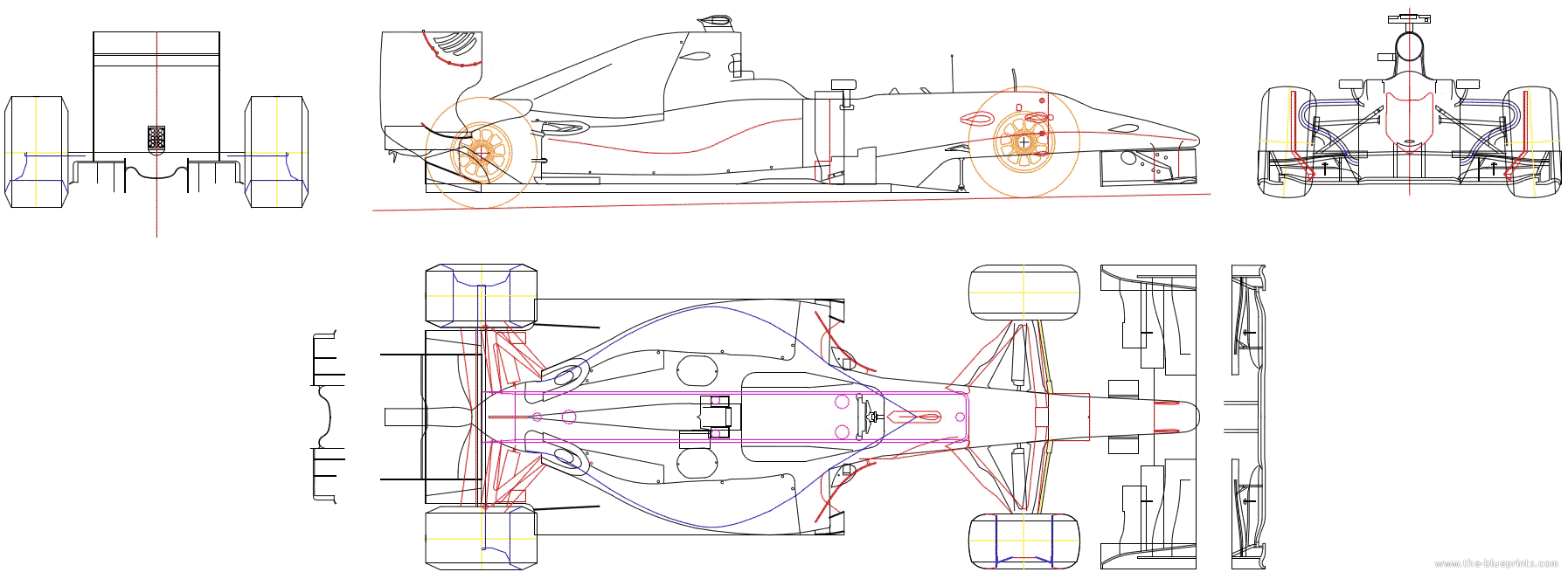 2010 Other Hispania F110 F1 Formula Blueprints Free Outlines