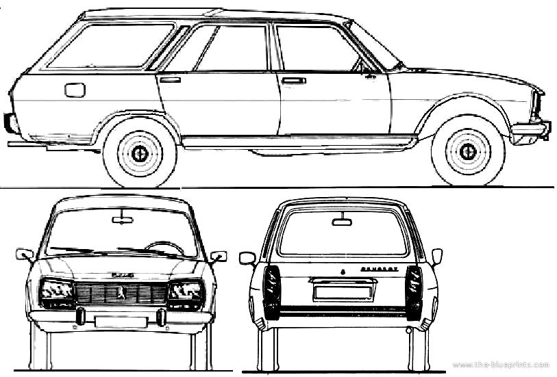 1968 Peugeot 504 Break Dangel 4x4 Wagon Blueprints Free Outlines