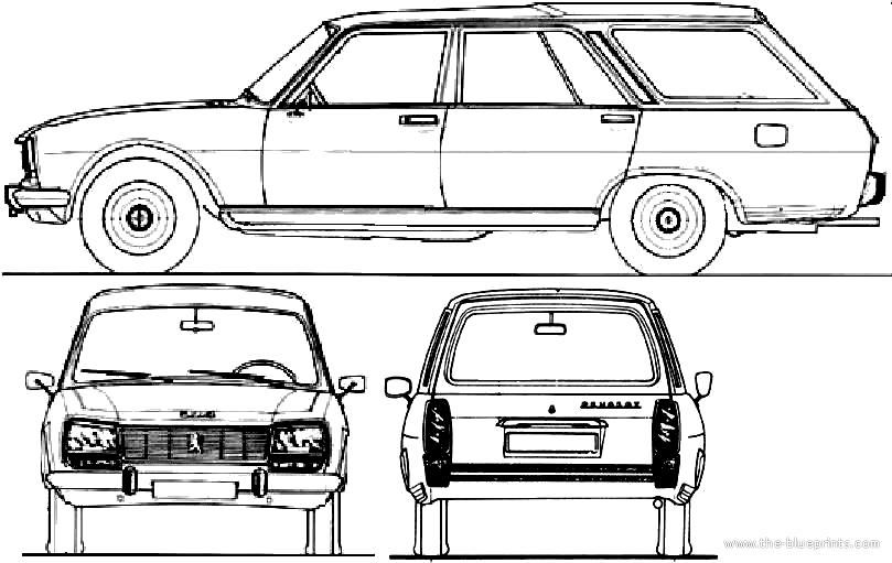 1968 Peugeot 504 Break Wagon Blueprints Free Outlines