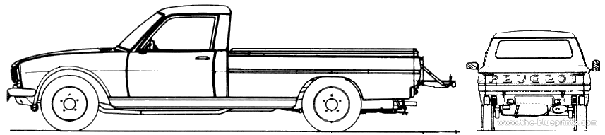 1968 Peugeot 504 Pickup Truck Blueprints Free Outlines