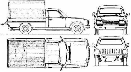 1985 Peugeot 504 Pickup Truck Blueprints Free Outlines