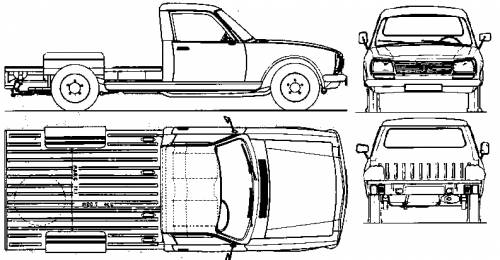 1985 Peugeot 504 Chassis Pickup Truck Blueprints Free Outlines