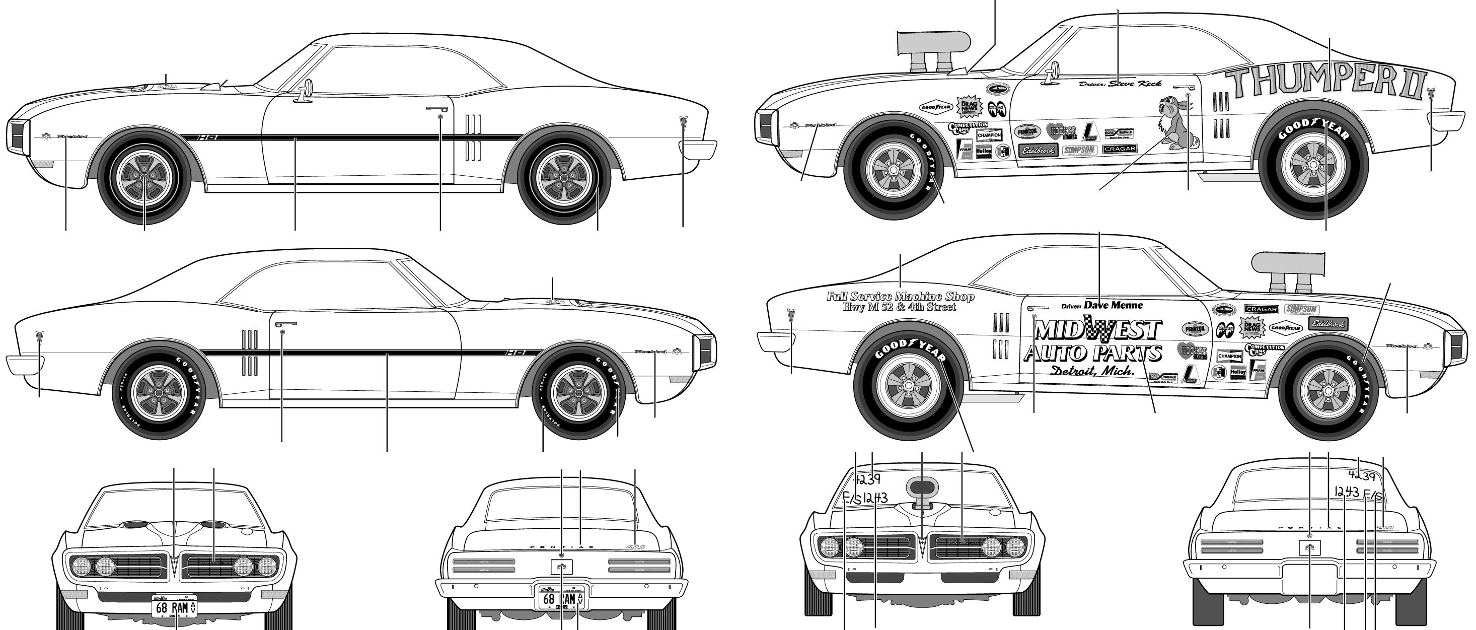 1968 pontiac firebird 400 ram air coupe blueprints free outlines pontiac firebird 400 ram air blueprints malvernweather Choice Image