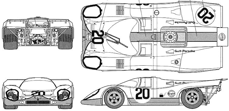 1970 porsche 917k le mans coupe blueprints free