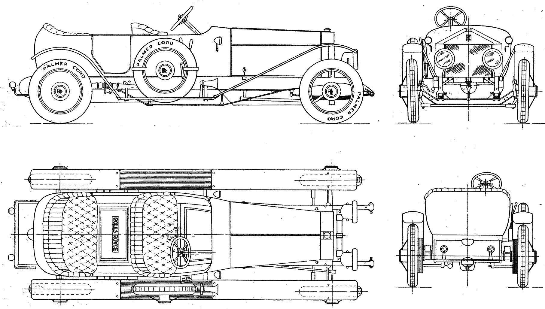 1913 rolls-royce 40  50 silver ghost cabriolet blueprints free