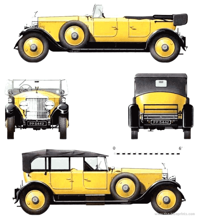 Rolls-Royce Phantom I Park Ward Tourer blueprints