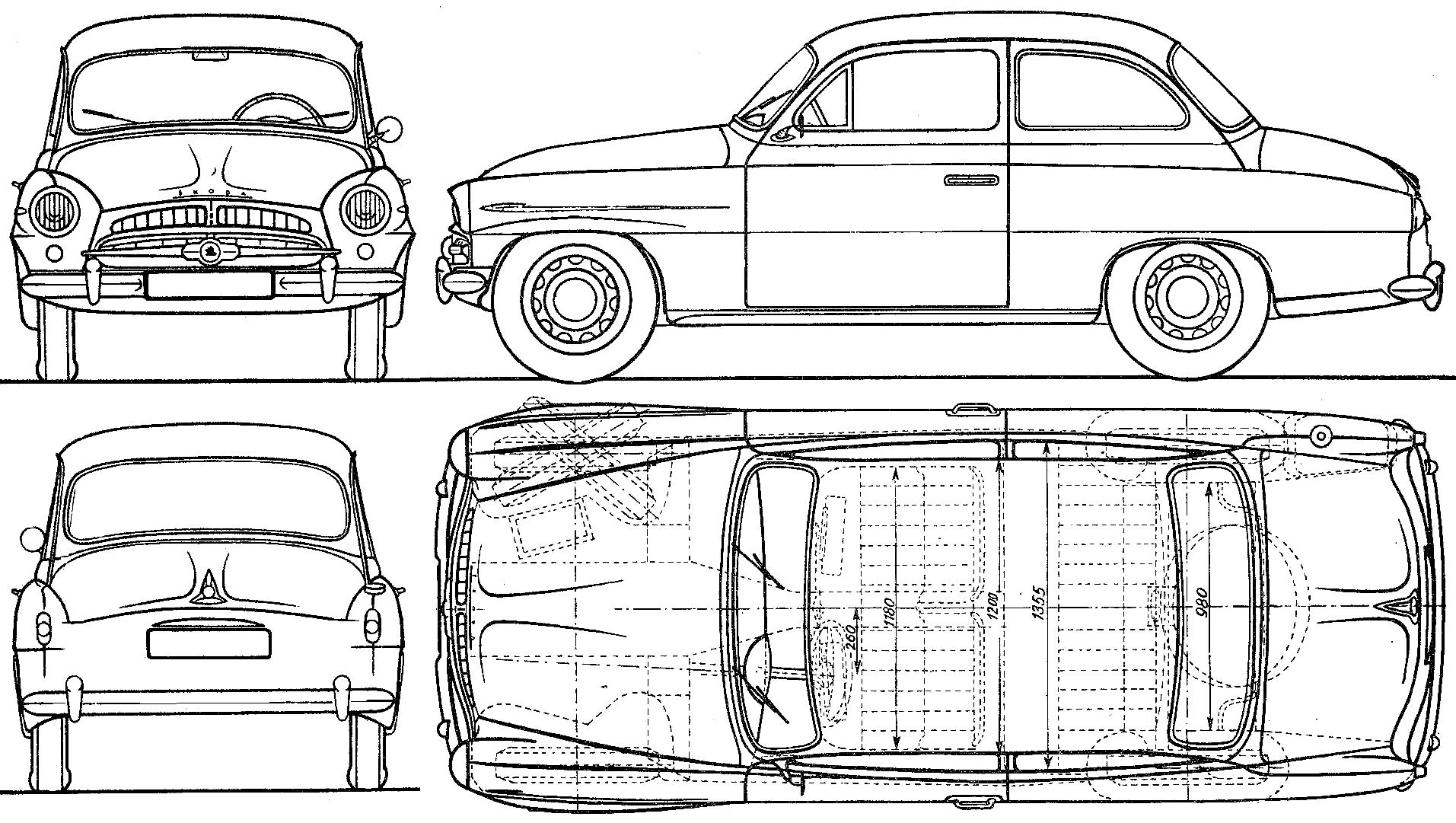 1957 skoda 440 sedan blueprints free