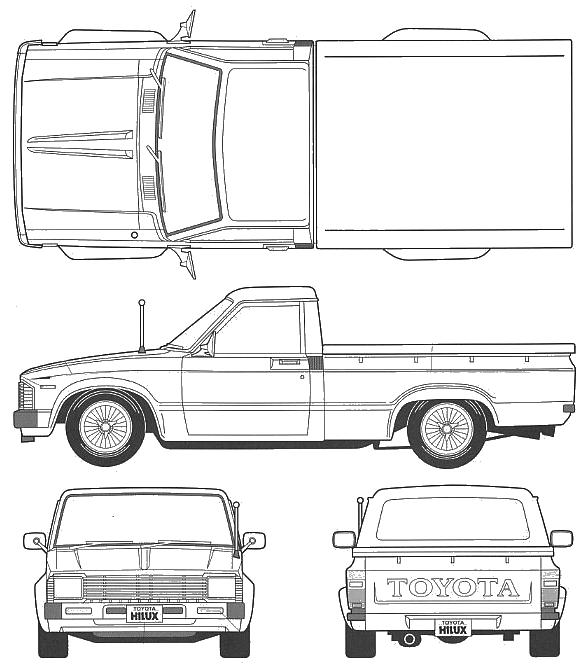 1984 toyota hilux iv pickup truck blueprints free