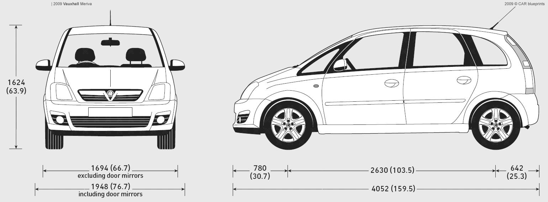 2009 vauxhall meriva minivan blueprints free outlines. Black Bedroom Furniture Sets. Home Design Ideas