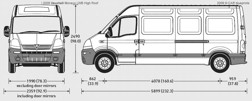 2009 vauxhall movano lwb high roof van blueprints free outlines. Black Bedroom Furniture Sets. Home Design Ideas