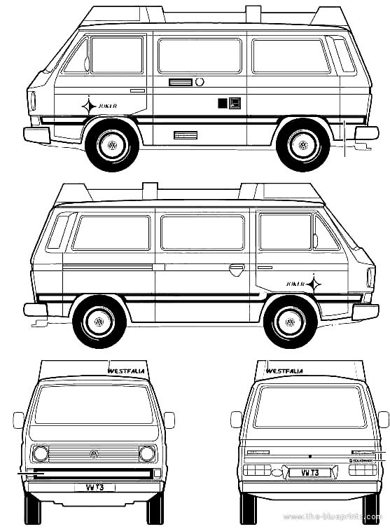 1992 Volkswagen T3 Westfalia Camper Joker Bus Blueprints