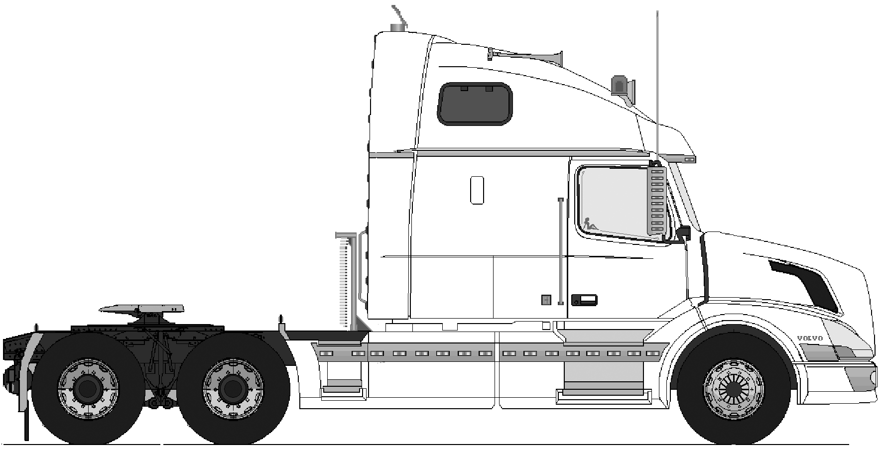 Volvo VN770 6x4 Heavy Truck blueprints free - Outlines