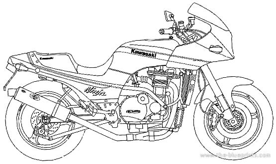 Kawasaki Gpz900r Ninja Blueprints Free Outlines
