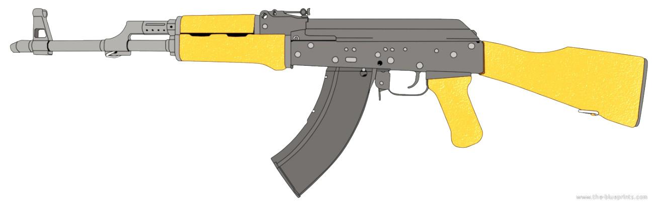 AK-47 blueprints free - Outlines