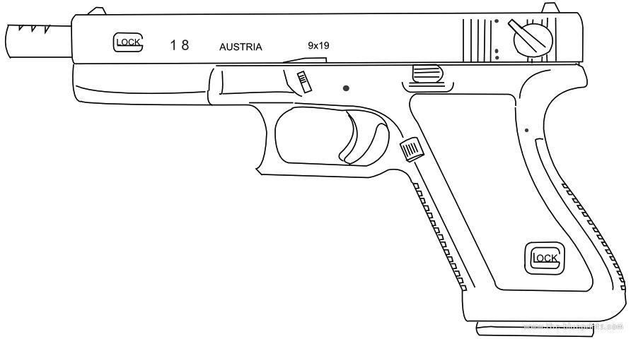 Glock-18C blueprints free - Outlines