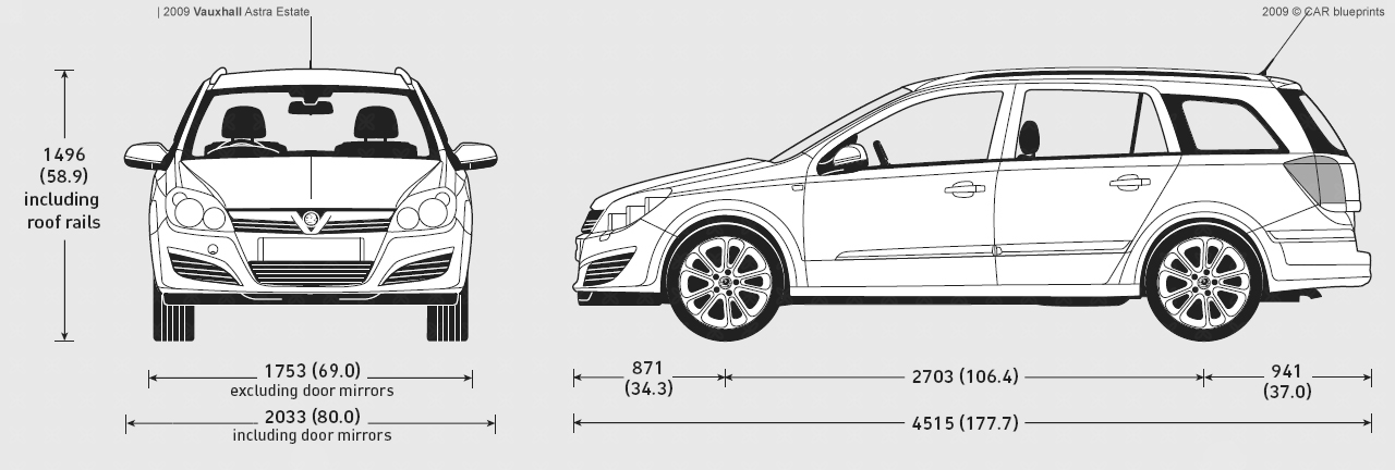 opel astra estate dimensions