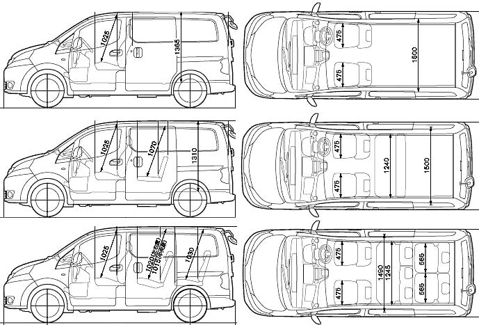 2009 Nissan Nv200 Vanette Minivan Blueprints Free Outlines