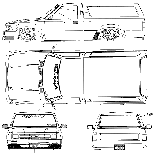 1988 toyota hilux v lowrider pickup truck blueprints free outlines download or request vector blueprint malvernweather Gallery