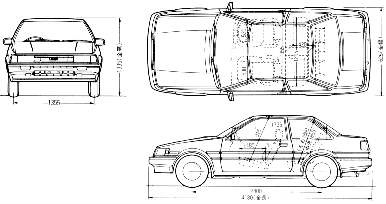 1983 toyota levin ae86 2 door coupe blueprints free outlines toyota levin ae86 2 door blueprints malvernweather Image collections