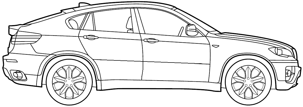 2009 Bmw X6 Suv Blueprints Free Outlines