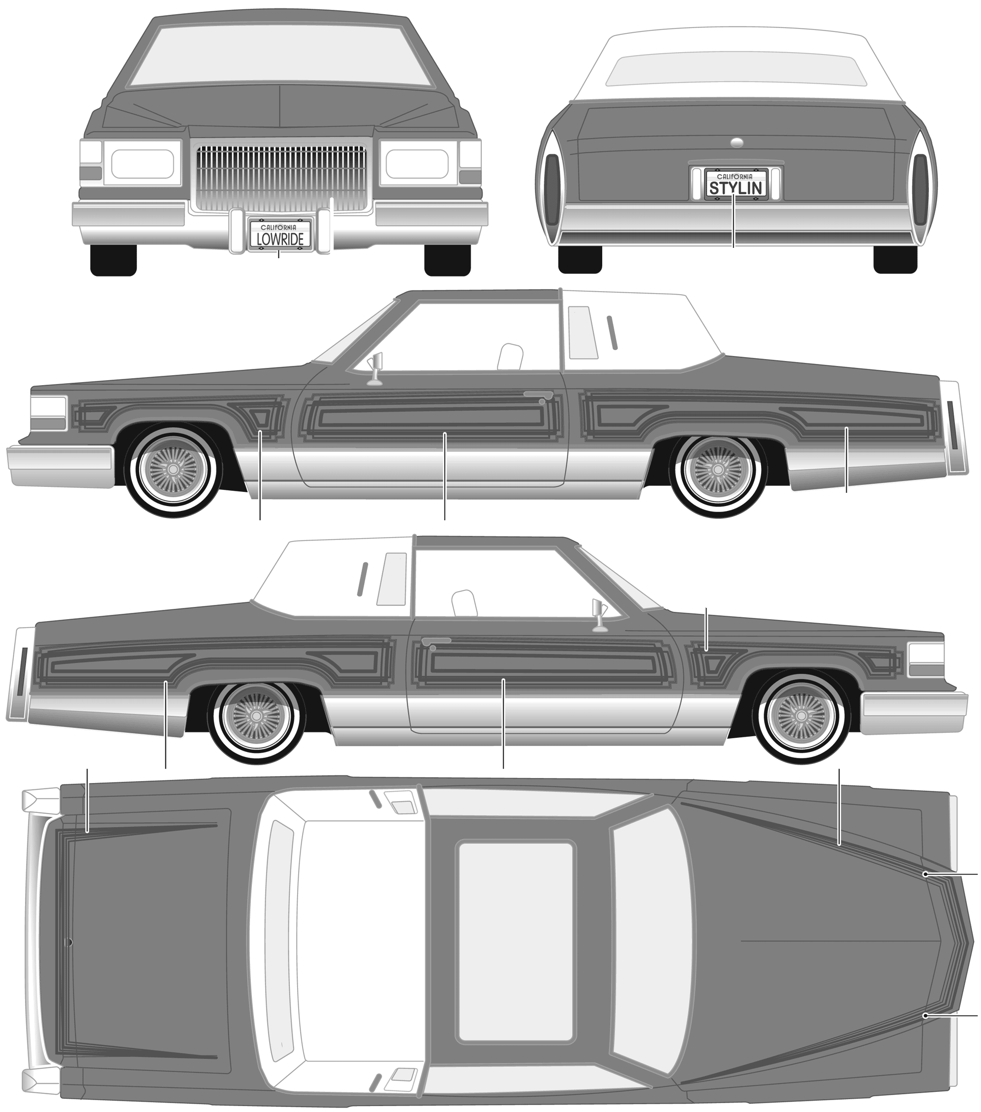 Cadillac Custom Lowrider Coupe blueprints free - Outlines
