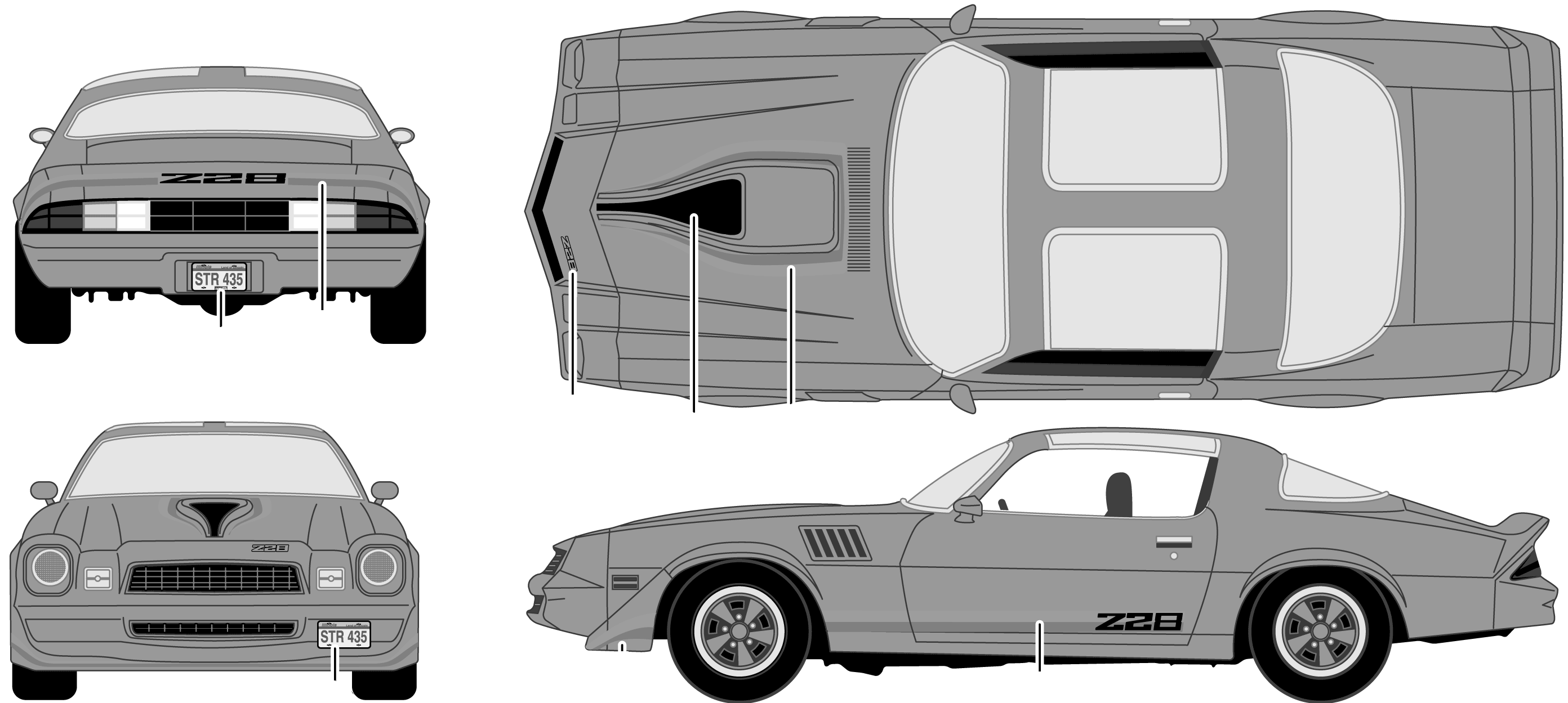 1979 chevrolet camaro z28 coupe blueprints free outlines chevrolet camaro z28 blueprints malvernweather Image collections