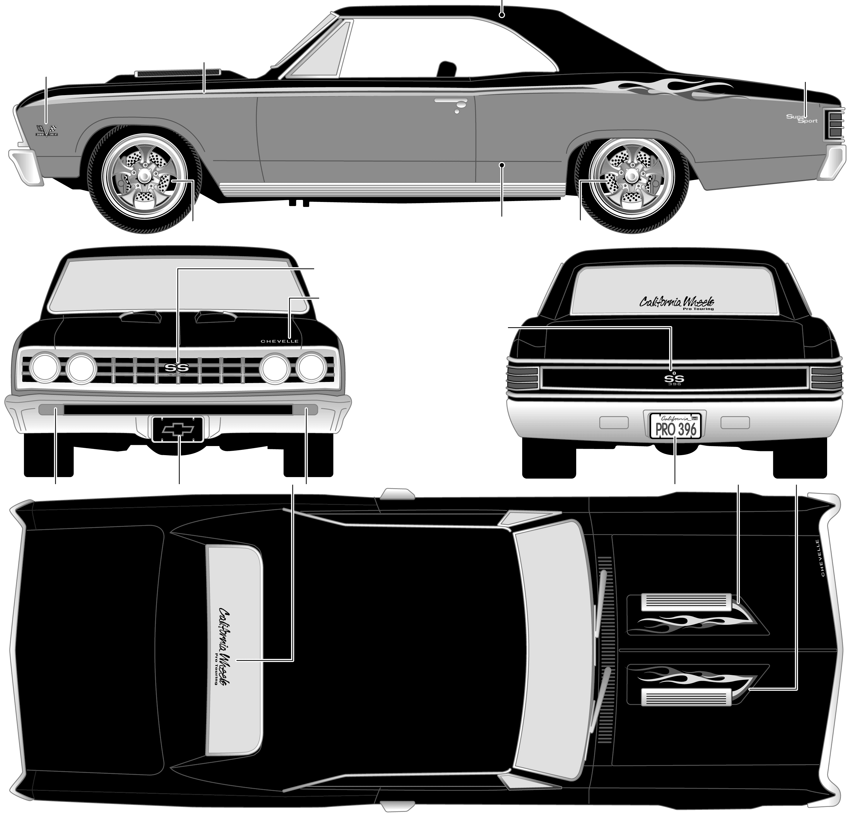 1967 Chevrolet Chevelle SS 396 Coupe blueprints free - Outlines