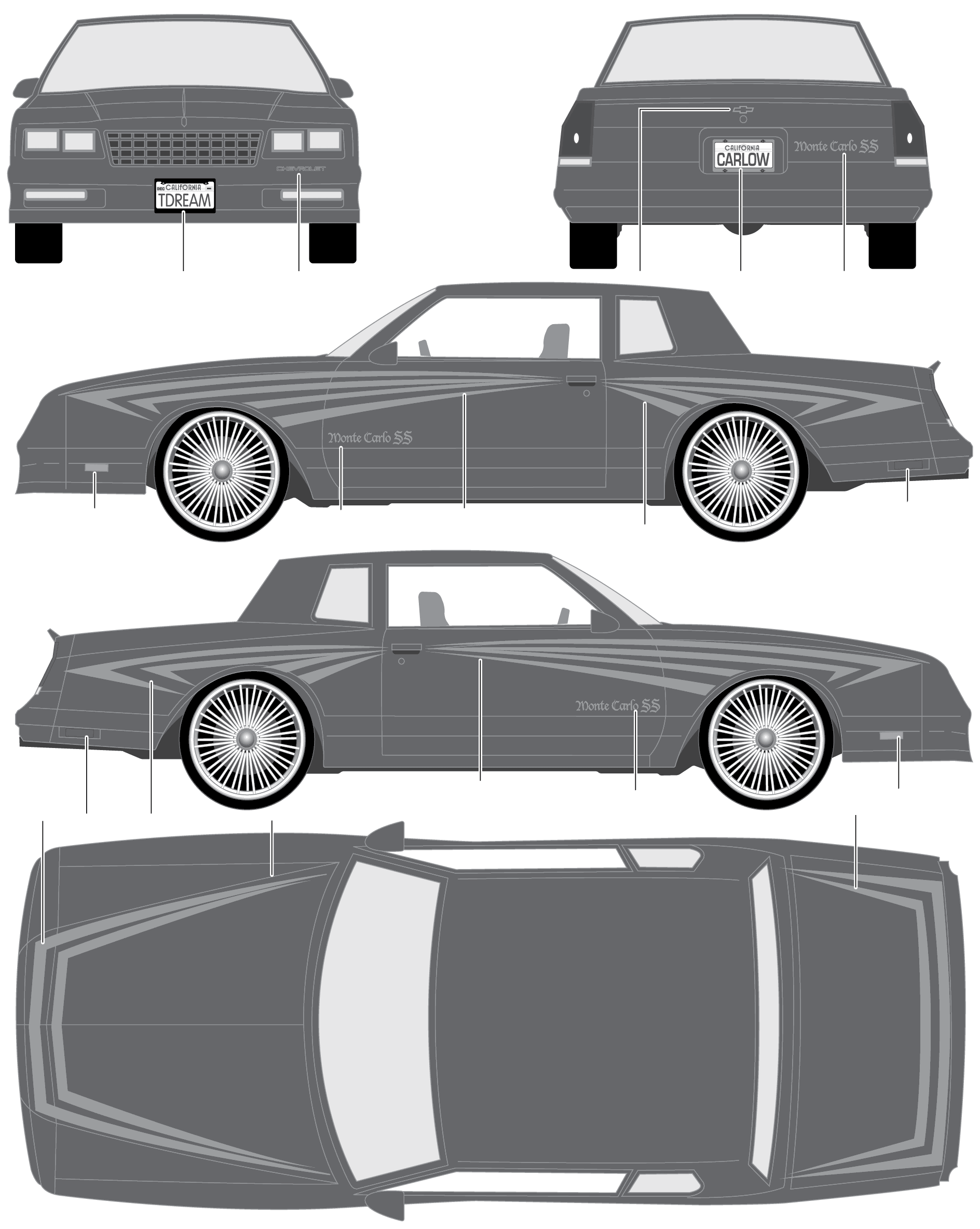 1986 chevrolet monte carlo ss coupe blueprints free outlines