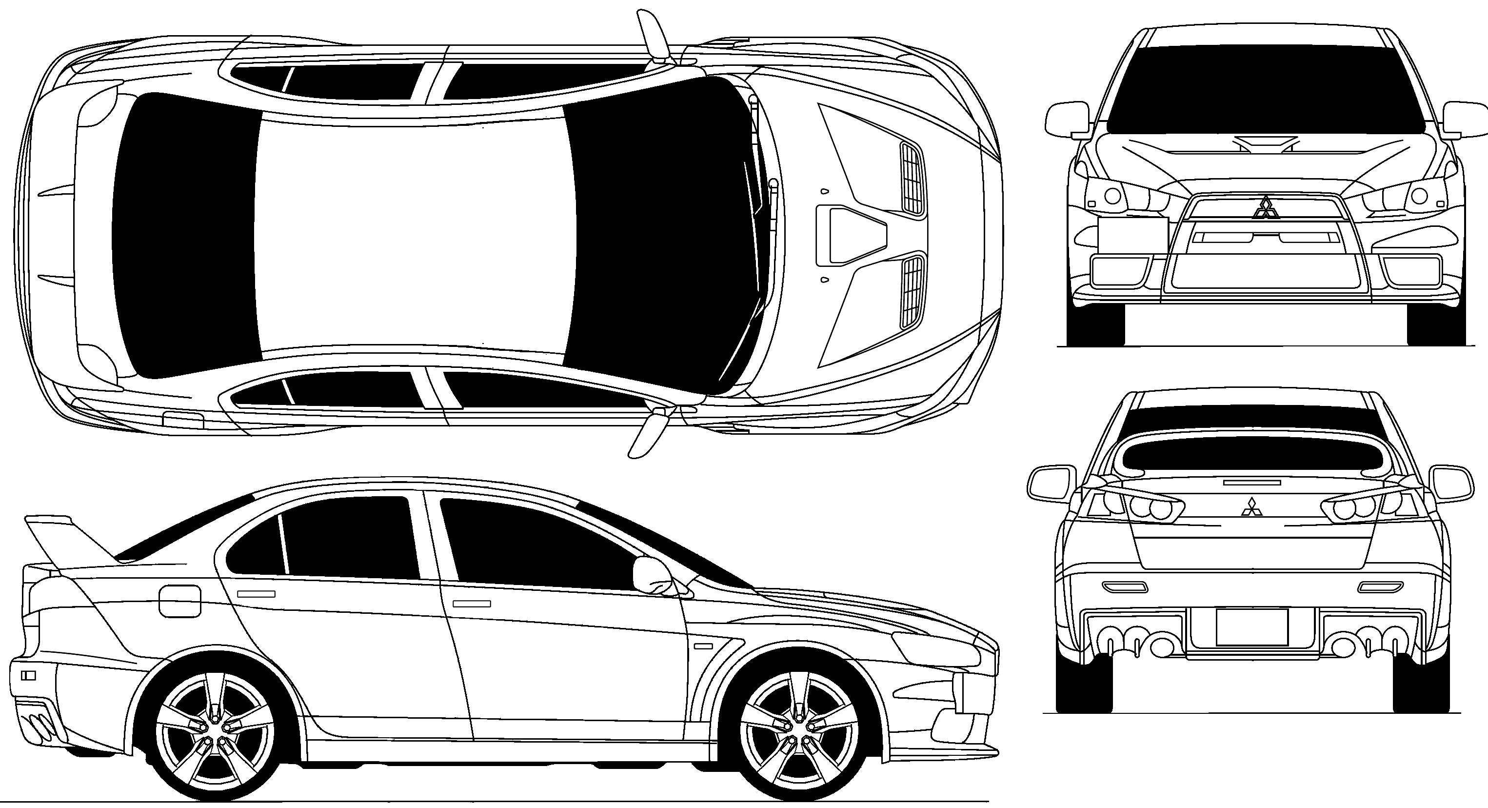 2009 Mitsubishi Lancer Evolution X Sedan blueprints free - Outlines