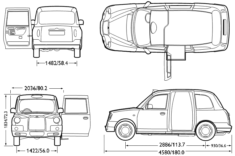 1984 lti fx4 london taxi sedan blueprints free outlines lti fx4 london taxi blueprints malvernweather Image collections