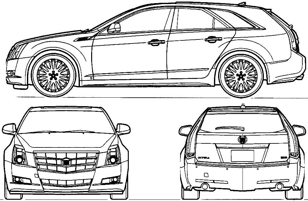 cadillac outline. cadillac cts station blueprints outline