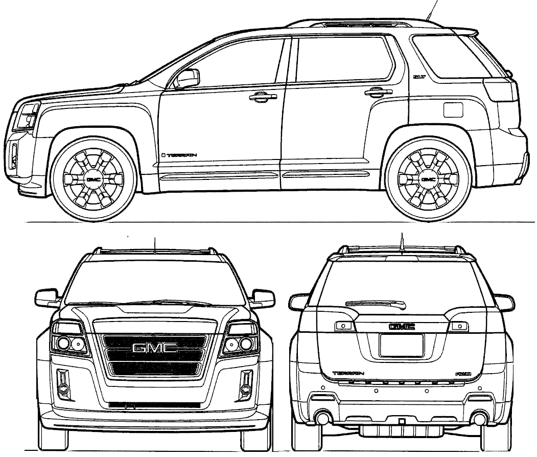 2010 gmc terrain suv blueprints free outlines gmc terrain blueprints malvernweather Image collections
