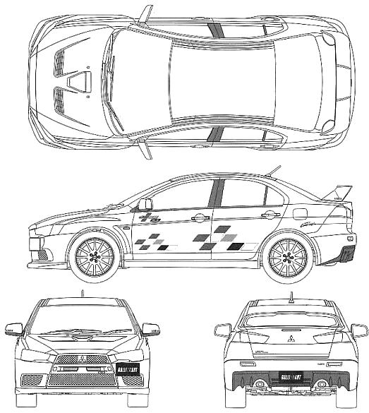2009 Mitsubishi Lancer Evolution X Rally Art Sedan blueprints free ...