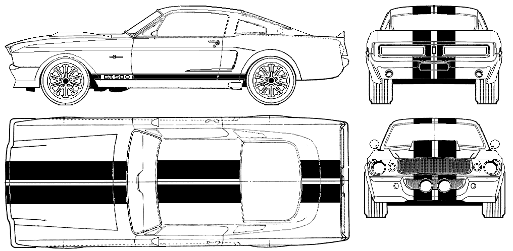 1967 shelby gt500 eleanor coupe blueprints free outlines shelby gt500 eleanor blueprints malvernweather Choice Image