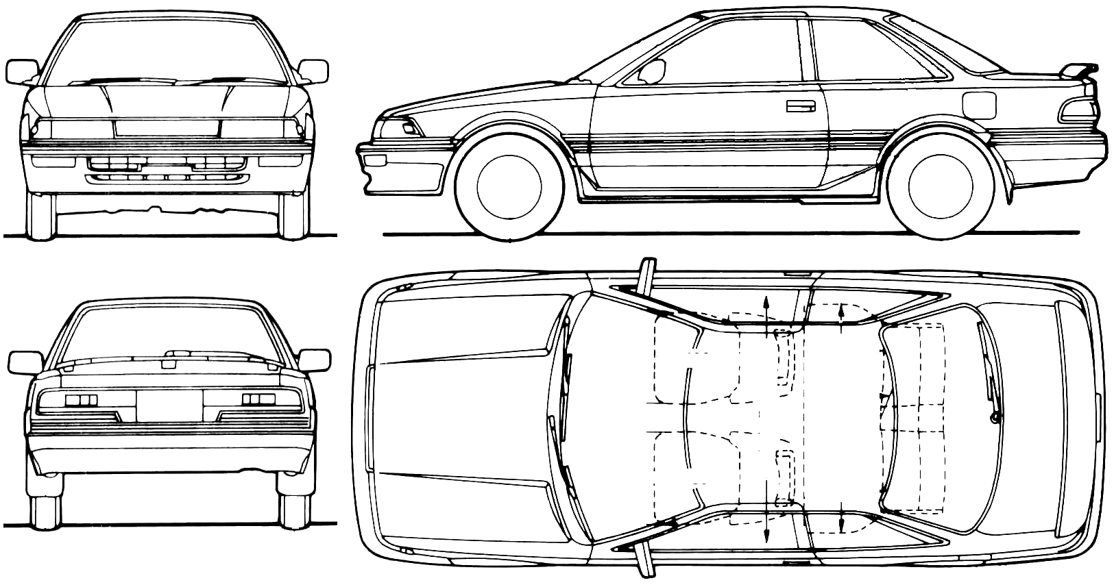 1990 toyota corolla levin coupe blueprints free outlines toyota corolla levin blueprints malvernweather Image collections